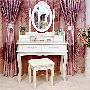 Tribesigns makeup vanity table set bedroom - Amazon bedroom chairs and stools ...