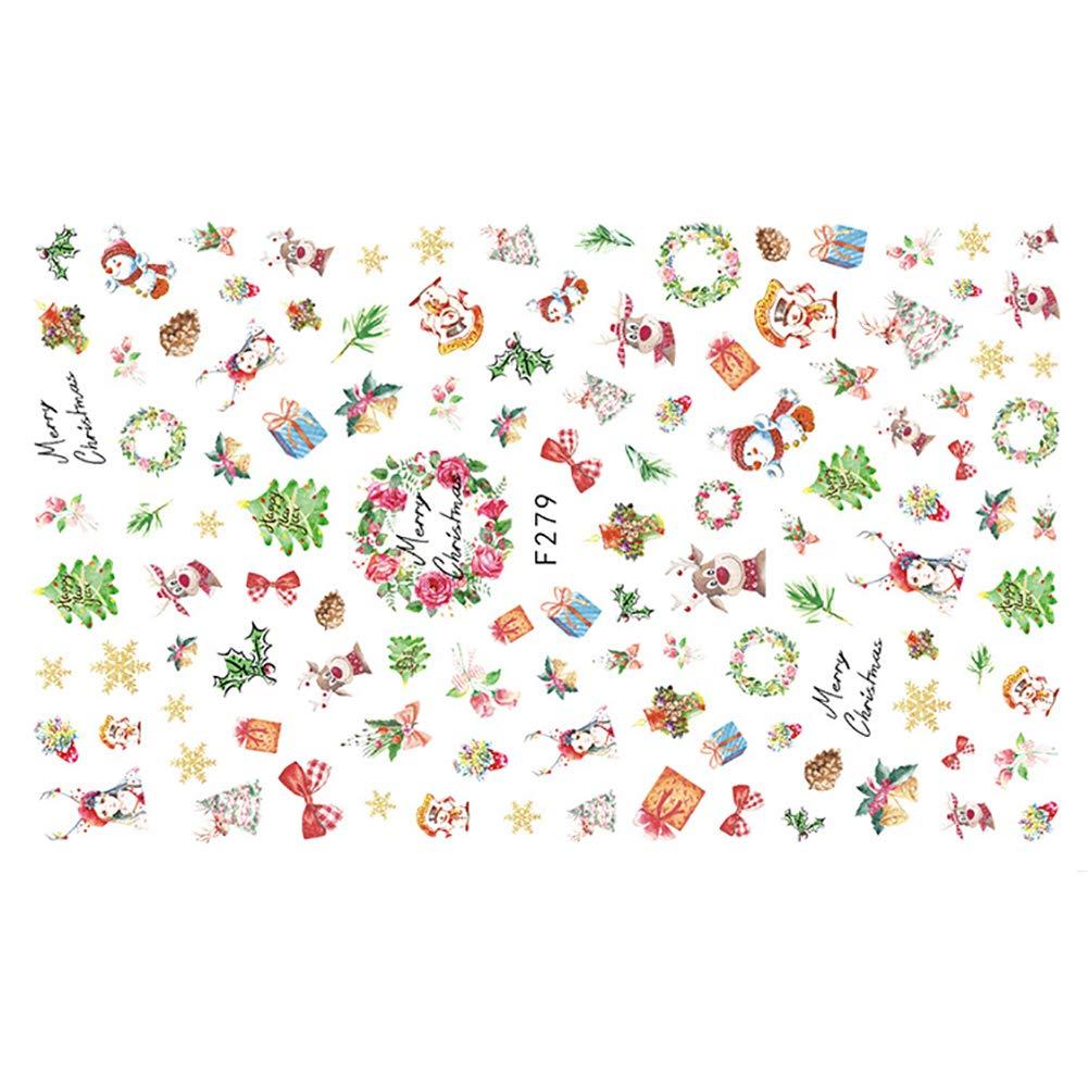 Christmas1 Preciosas Pegatinas de U/ñas para Ni/ños Adulto de Pegatina de u/ñas de Navidad Apliques Resistente al Agua para la Artesan/ía de Bricolaje del Arte del Clavo Kanggest