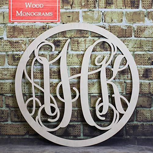 Back40Life | Circle Vine Monogram Unfinished Wood Letters Cutout DIY Decor Nursery