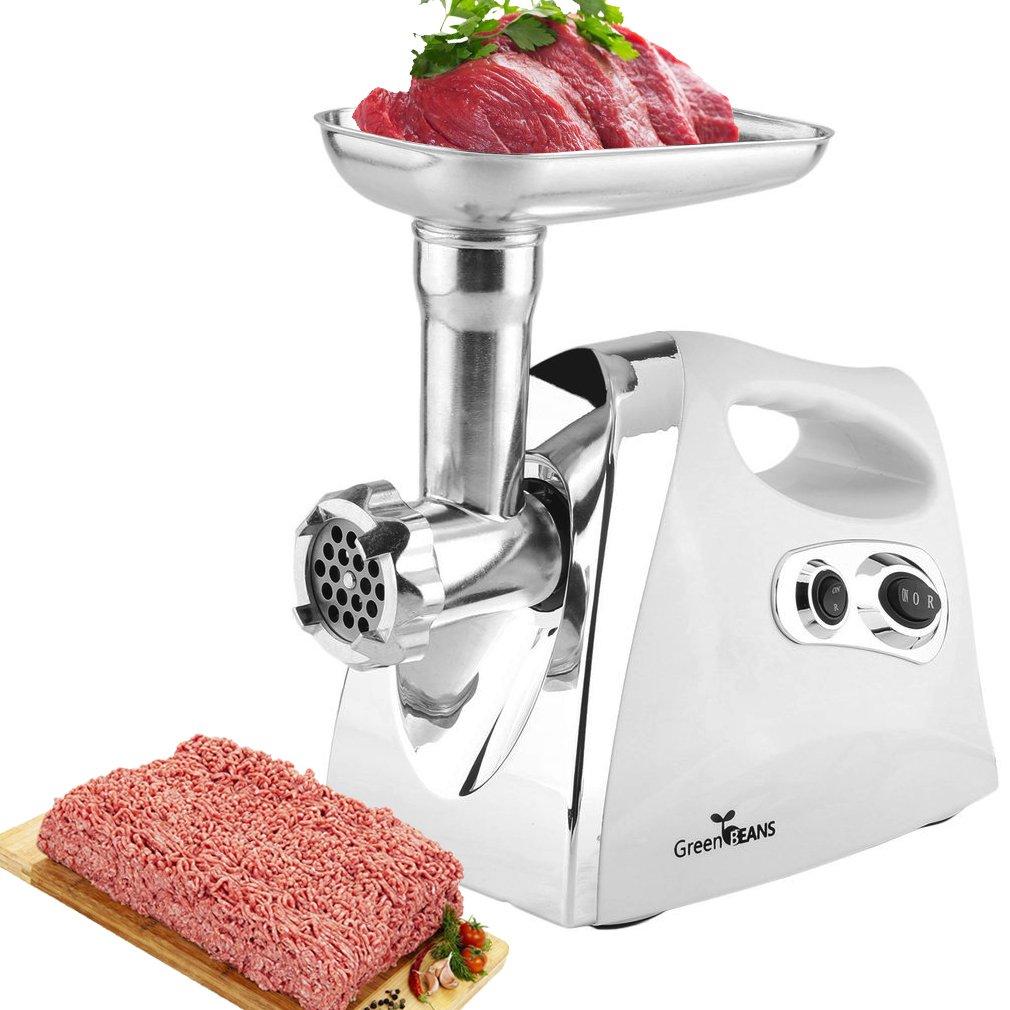 Belovekai Electric Meat Grinder, Sausage Maker – 3 Grinding Plates (White)