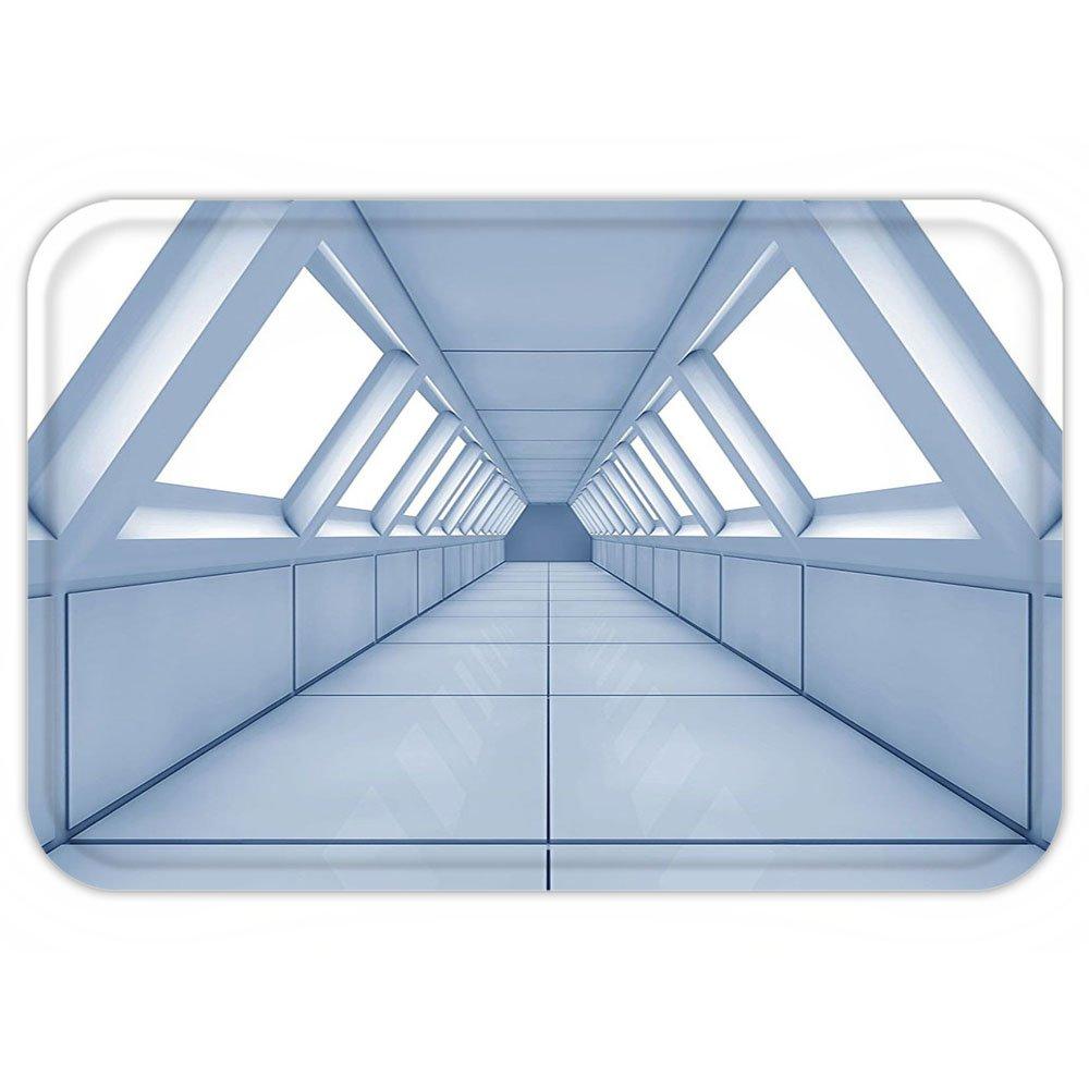 VROSELV Custom Door MatApartment Decor Corridor of Futuristic Spaceship Inside Technology Modern Building Indoor Artwork Print Decor White