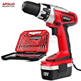 Apollo 18 V Pro Combo Cordless Drill Driver with 1000 mAh NiCad Battery, 17 Position Keyless Clutch, Variable Speed Switch & 30 Piece Drill and Screwdriver Bit Accessory Set in Compact Storage Case