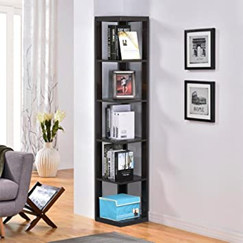 Topeakmart 5 Tier Espresso Wood Wall Corner Bookshelf Display Bookcase Home Office Living Room Furniture