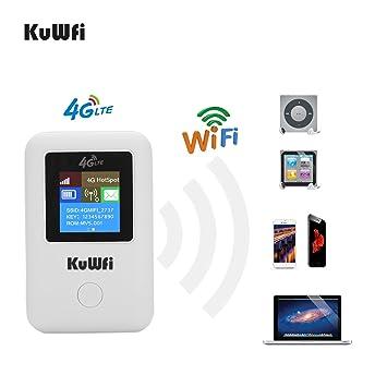 KuWFi Travel Partner 150Mbps 4G LTE WiFi Router Móvil Hotspot con Ranura para Tarjeta Sim Trabajo con La Red B1 / B3 / B7 / B8 / B20