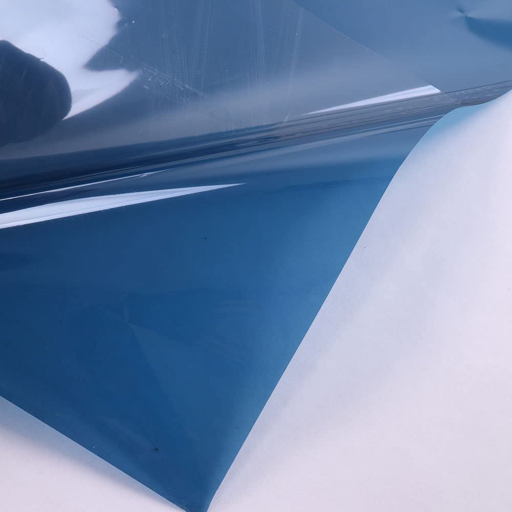 HOHOFILM 35.4x78.7 Transparent Colorful Window Film Glass Decoration Stickers Glass Door Tint Self-Adhesive Sun Blocking Glass Film Dark Blue