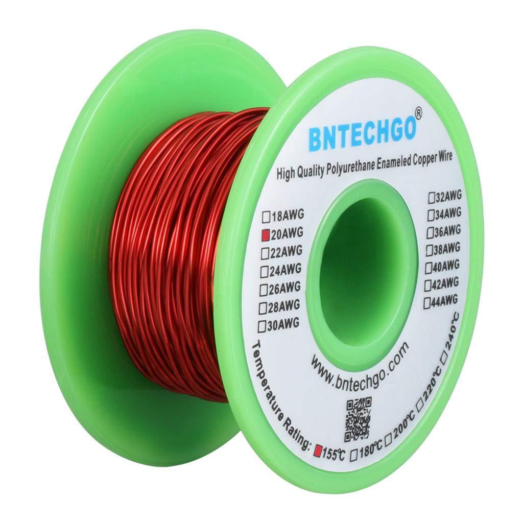 BNTECHGO 20 AWG cable magnético – alambre de cobre esmaltado – alambre de viento de imán esmaltado – 4 oz – 0, 0315 pulgadas de diámetro 1 bobina de bobina rojo temperatura nominal 155 grados C ampliamente utili