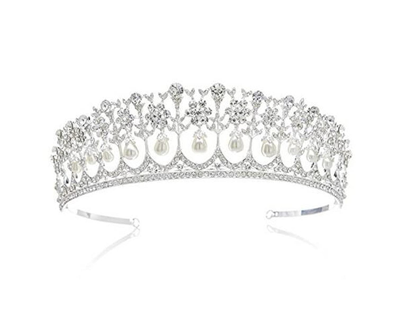Wiipu Wedding Bridal Pearl Crown Diana Tiara Princess Hair Accessories(N431) wiipujewelry