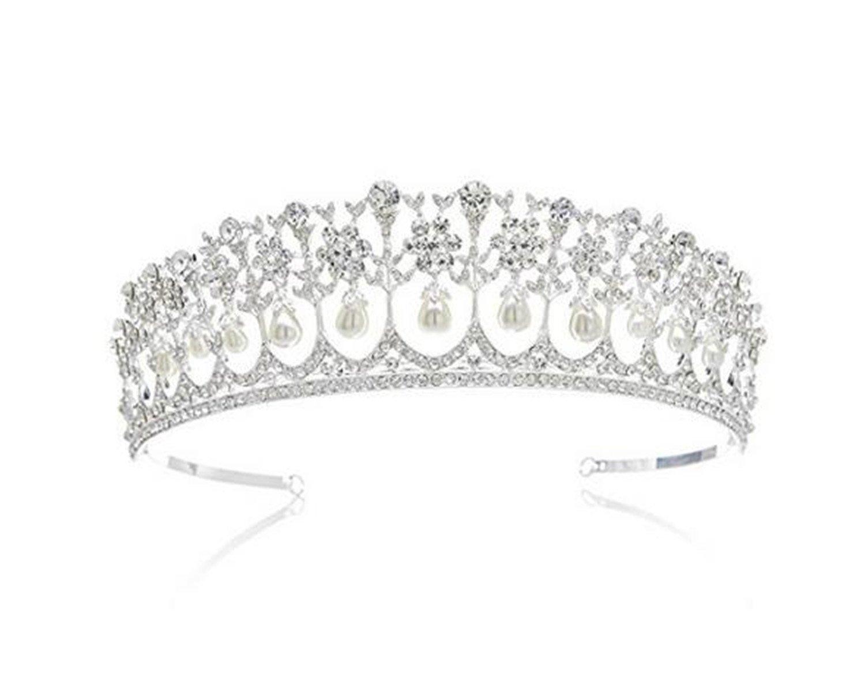 Wiipu Wedding Bridal Pearl Crown Diana Tiara Princess Hair Accessories(N431)