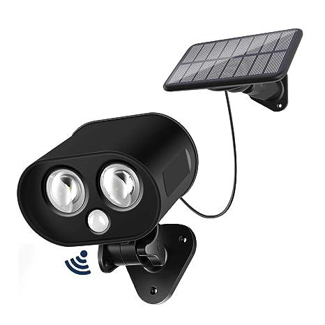 Lámpara solar detección de movimiento, ieGeek 2 LED 217 lumens luz de seguridad Solar Projector