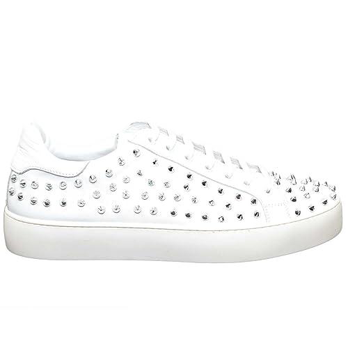 Malu Shoes Sneaker Uomo Bianca Stringata 26 U Borchie Vera Pelle Linea MOMA Made in Italy Top della Gamma Milano (41) OGNXN
