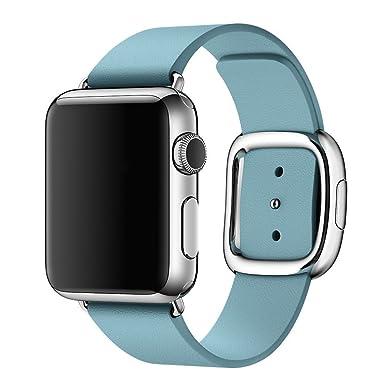 gosuper; moderno hebilla piel auténtica reloj inteligente banda para Apple reloj 42 mm serie 1