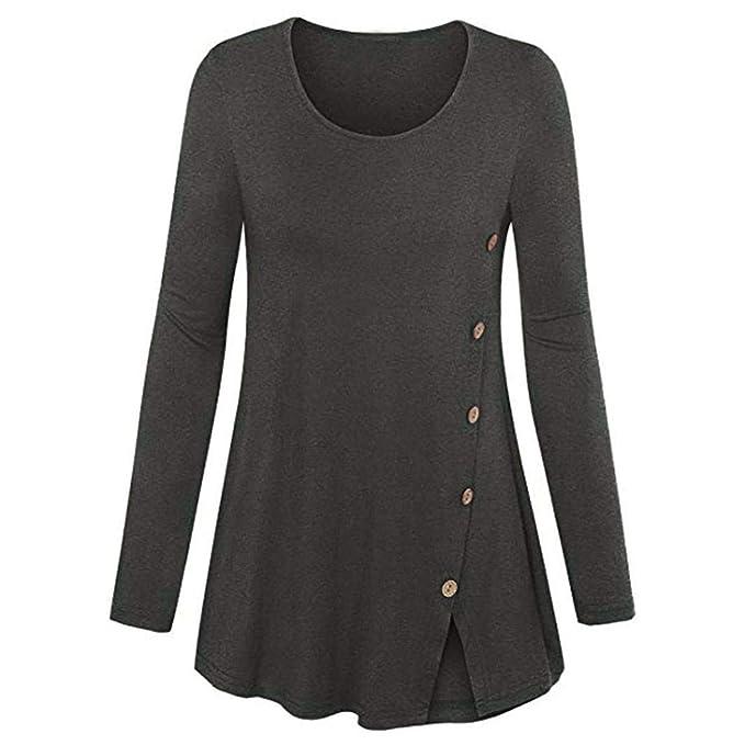 modische Muster achten Sie auf modischer Stil ZIYOU Vintage T-Shirt Longsleeve Damen, Elegante Rundkragen ...