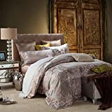 silk french european style luxury bedding collection comforter set duvet cover pastoral floral pattern bed sheet wedding festive decoration-A Queen2
