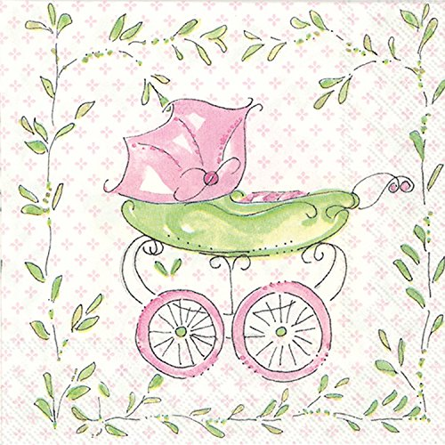 Ideal Home Range C707659 Rosanne Beck 20 Count Paper Cocktail Napkins, Pink Baby Carriage ()