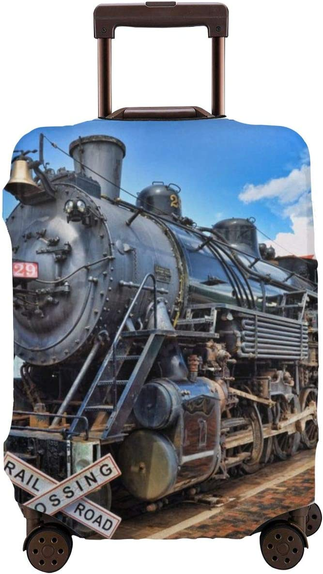 Steam Train Travel Luggage Cover Fit for 26-28 Inch Suitcase