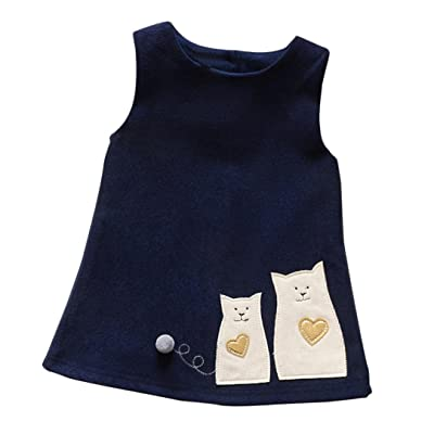 141e3e33933 Foutou Princess Dresses For Little Girls Sleeveless Cat Print Baby Girls  Dress Outfit Clothes