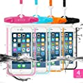 """Universal Waterproof Case, FITFORT 2 Pack Universal Dry Bag/ Pouch,for iPhone 7/6/6S Plus/5/5s/5c Galaxy S7/S7 Edge/S6/S5/S4 Note 4/3 LG G5/G3 Up To 5.5 """"(Black+Blue)"""