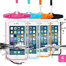 """4 Pack Universal Waterproof Case FITFORT Cell Phone Dry Bag/ Pouch for iPhone 8 7 6 6S Plus/5/5s/5c Galaxy S8/S7 Edge/S6/S5/S4 Note4/3 LG G5/G3 Up To 5.5 """"(Black+Blue+Orange+Rose Red)"""