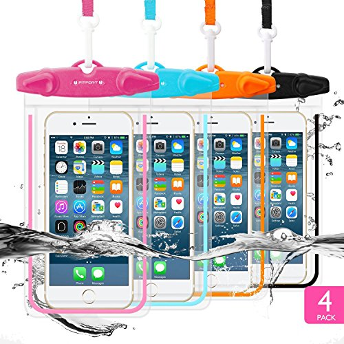 "4 Pack Universal Waterproof Case FITFORT Cell Phone Dry Bag/ Pouch for iPhone 8 7 6 6S Plus/5/5s/5c Galaxy S8/S7 Edge/S6/S5/S4 Note4/3 LG G5/G3 Up To 5.5 ""(Black+Blue+Orange+Rose Red)"
