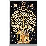 Handicrunch Elephant Tree Tapestry ,Good Luck White Elephant Tapestry , Hippi...