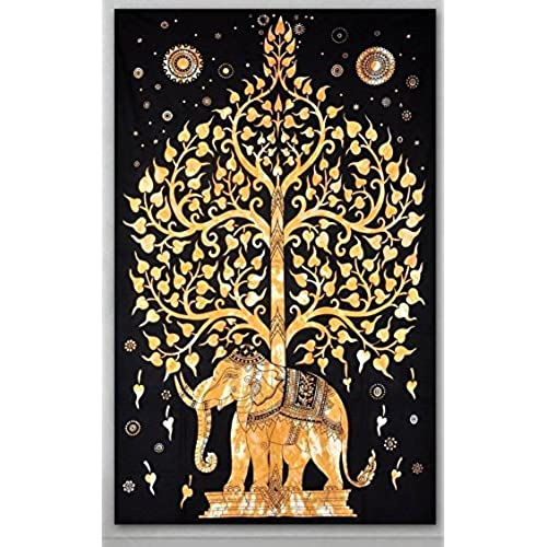 Amazing Popular Handicrafts Elephant Tree Tapestry Hippie Gypsy Wall Hanging (Gold/ Black)