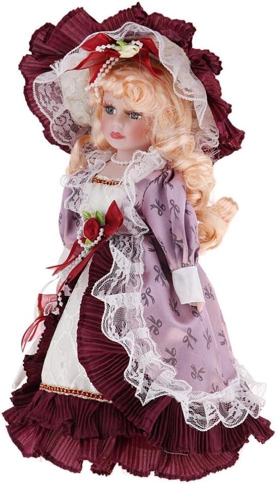 Muñeca Cerámica Delicada de Época Victoria, Regalo Niñas Mayores de 3 Años - Rojo Vintage, 30cm