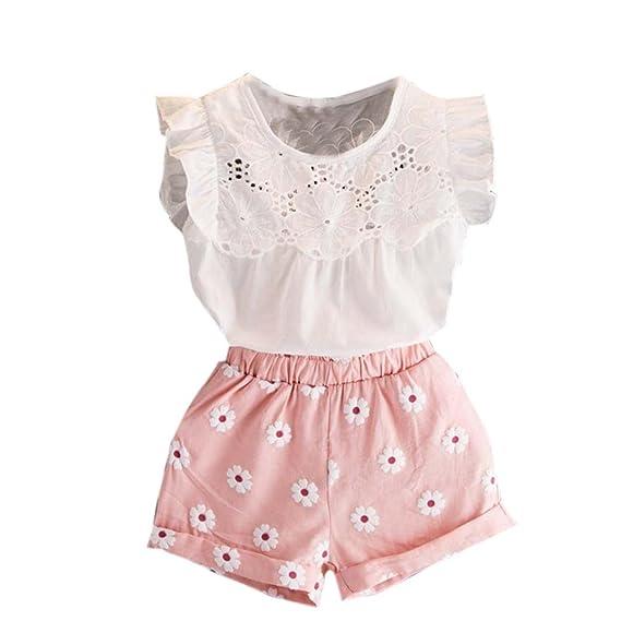 2fd4c3c75 Btruely Herren 🍁Ropa bebé 2-7 años Bebe Niña Camiseta Sin Mangas de  Lollipops y Pantalones Cortos Florales Conjunto de Ropa Verano 2 pcs   Amazon.es  Ropa y ...