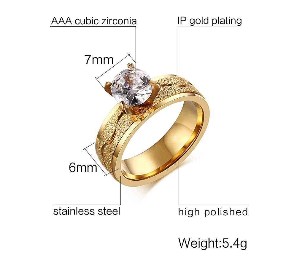 VNOX Womens Stainless Steel Cubic Zirconia Solitaire Ring for Engagement Wedding Band Promise,Gold