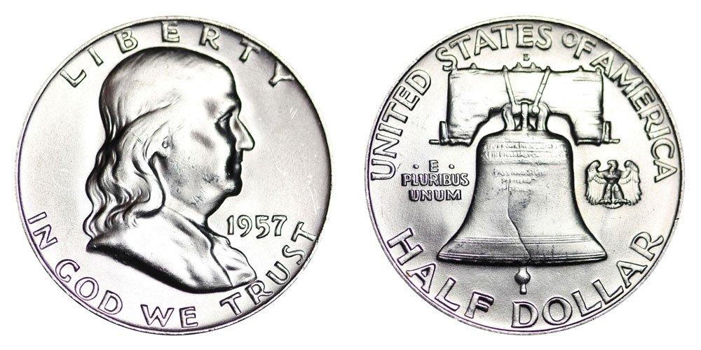 1957 D Franklin Half Dollar 90/% Silver Extra Fine XF