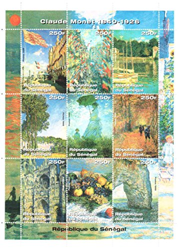 (Art stamps - Claude Monet stamps for stamp collecting - Paintings by Claude Monet - 9 mint stamps on a stamp sheet - Never mounted and never hinged)