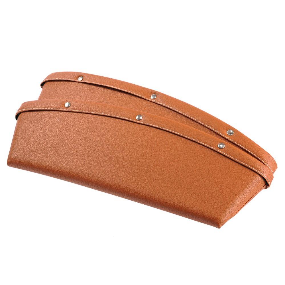 Black CHANGJIU Car Seat Gap Filler Premium PU Leather Car Seat Pocket Organizer 2 Pack Car Seat Side Drop Caddy Catcher