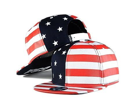 a0e45accf6a Flag Snapback Hat Cap Color Matching Flat Brim Hip-hop Cap(red white ...