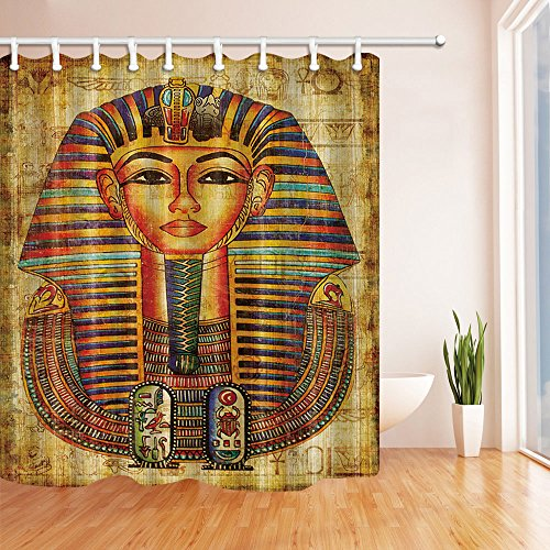 NYMB Africa Decor Egyptian Vellum Avatar Shower Curtain, Mildew Resistant Waterproof Polyester Fabric Bathroom Decorations, Bath Curtains Hooks Included, 69X70 inches (Multi14) by NYMB