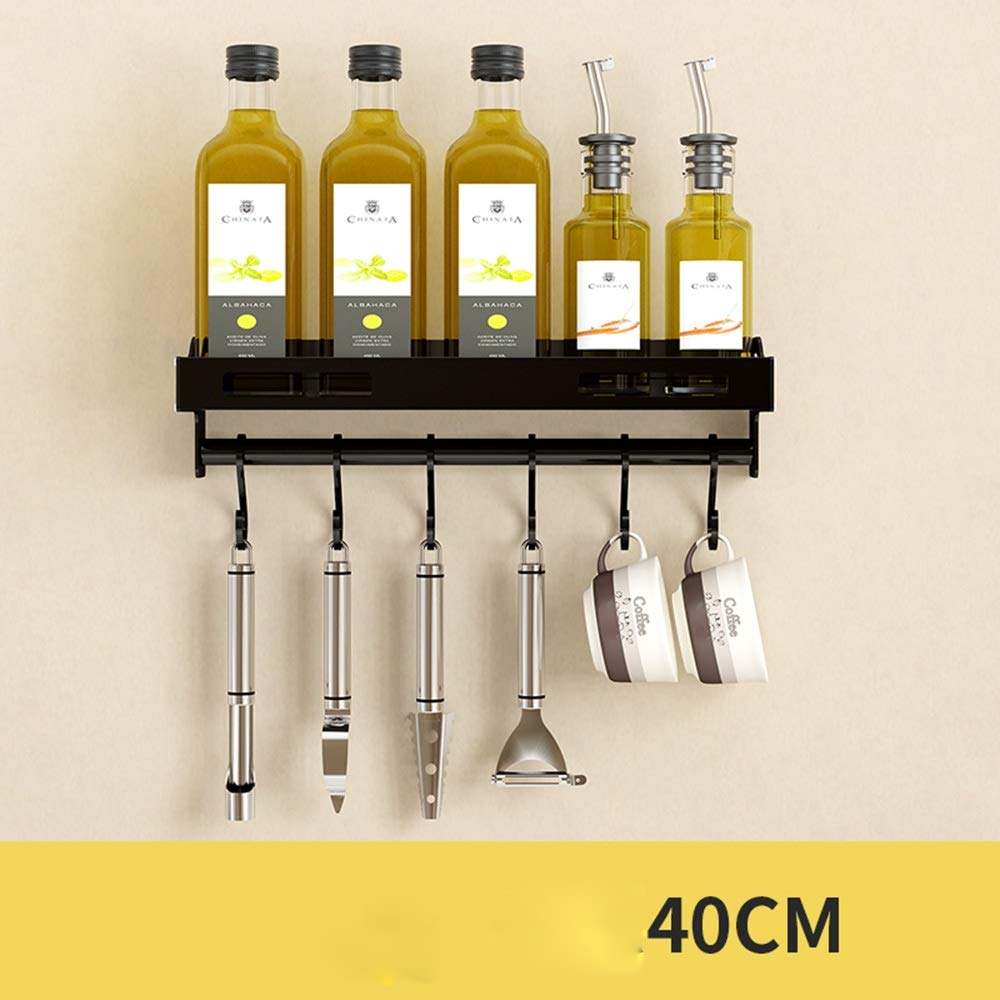 HUO Kitchen Rack Wall-Mounted Seasoning Storage Rack Black Wall Space Saving Rod Multifunction (Color : A, Size : 40cm)