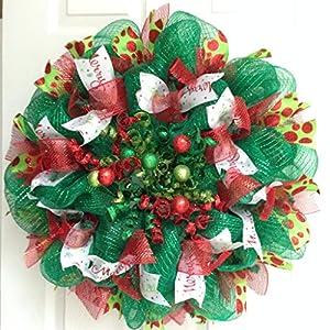 Baubles and Balls Handmade Deco Mesh Christmas Wreath 1