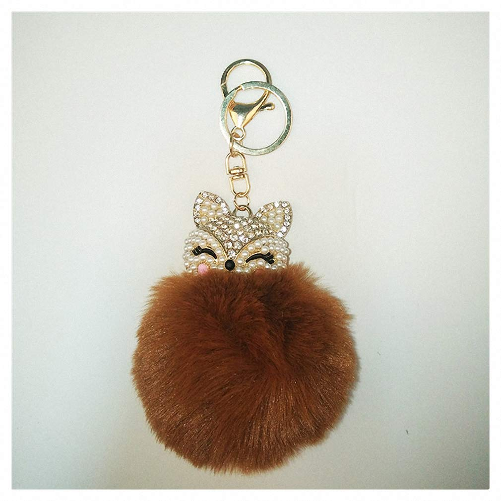 Amazon.com  Womens Charms Crystal Faux Fox Fur Keychain Women Trinkets  Suspension On Bags Car Key Chain Key Ring Toy Gifts Llaveros Jewelry 7C0394  Coffee  ... 00f4a43d0d