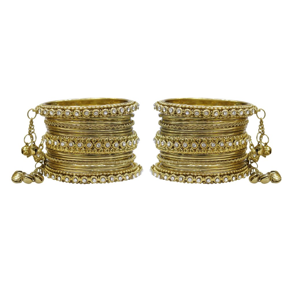 MuchMore Glamorous Traditional Indian Bollywood Style Antique Gold Plated Polki Bangle Jewelry MB-77