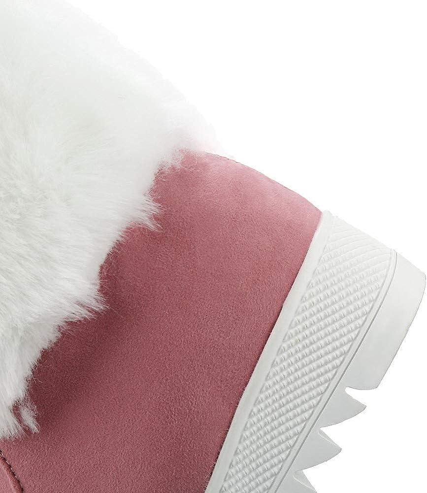 AalarDom Femme à Talon Correct Fermeture d'orteil Suédé Lacet Bottes,TSFXH112613 Rose
