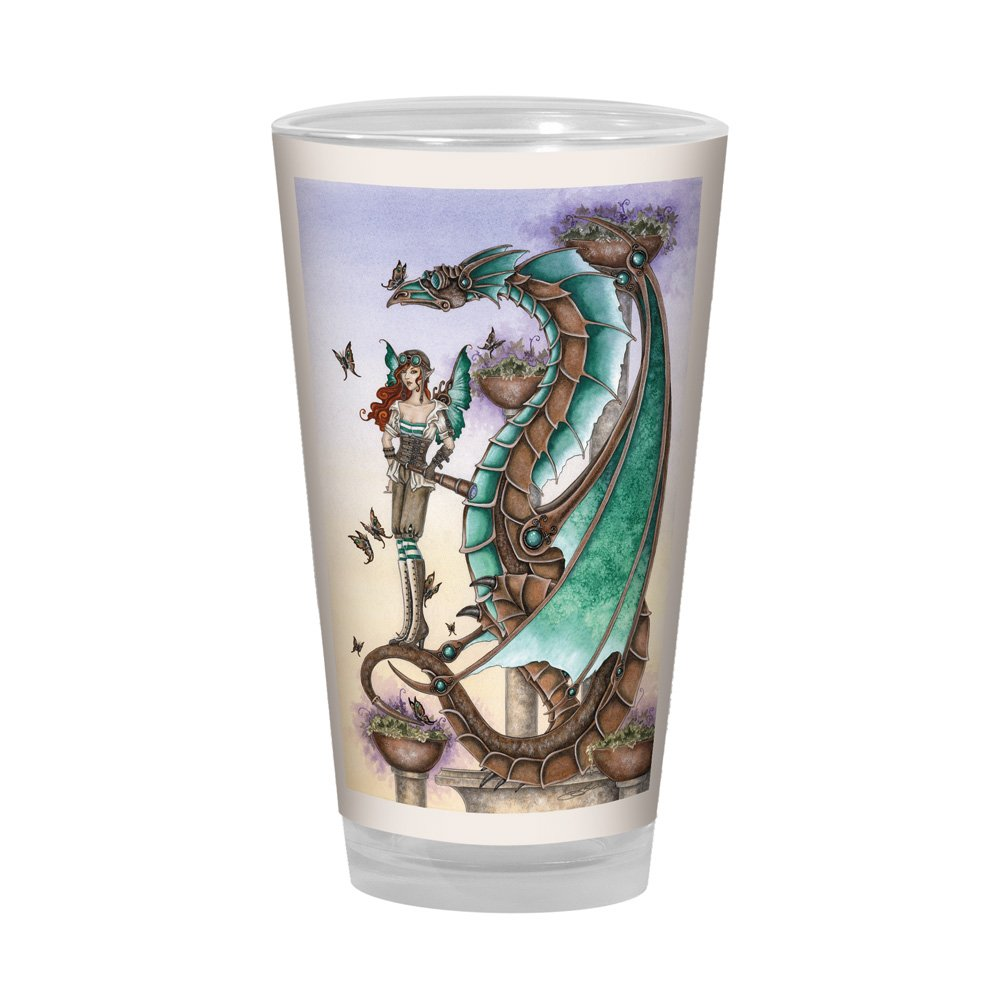 Fantasy Mechanical Mischief Dragon and Fairy Artful Alehouse 16-Ounce Tree-Free Greetings PG02593 Amy Brown Pint Glass