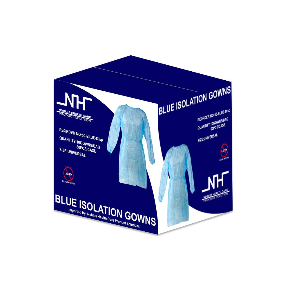 Disposable Isolation Gown Size: Universal Qty: 50 per Case (Blue) by NOBLES HEALTH CARE PRODUCT SOLUTIONS