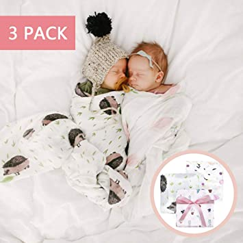 Newborn Baby Girl Boy Swaddle Wrap Blanket Muslin 100/% Cotton Sleeping Bag /&Hat