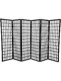 panel shoji screen room divider 6 panel black