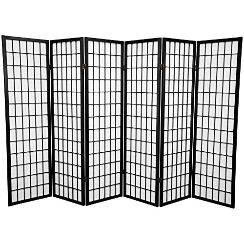 Panel Shoji Screen Room Divider 6 Panel Black