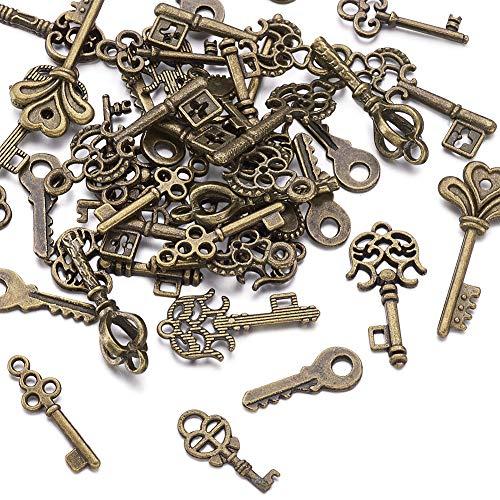 Vintage Accessory Jewelry - Beadthoven 50pcs Tibetan Style Key Pendants Skeleton Keys Bulk Vintage Antique Look Replica Charms for Jewelry Accessories Making Bracelets Necklaces(Antique Bronze)