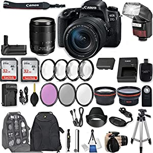 "Canon EOS 77D DSLR Camera with EF-S 18-135mm f/3.5-5.6 IS USM Lens + 2Pcs 32GB Sandisk SD Memory + Automatic Flash + Battery Grip + Filter & Macro Kits + Backpack + 50"" Tripod + More"