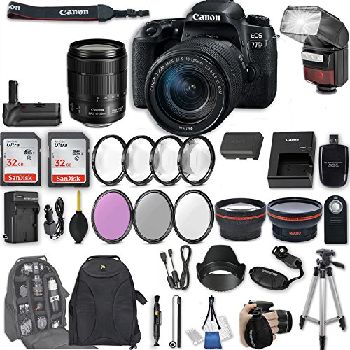 Canon EOS 77D DSLR Camera with EF-S 18-135mm f/3.5-5.6 IS USM Lens + 2Pcs 32GB Sandisk SD Memory + Automatic Flash + Battery Grip + Filter & Macro Kits + Backpack + 50