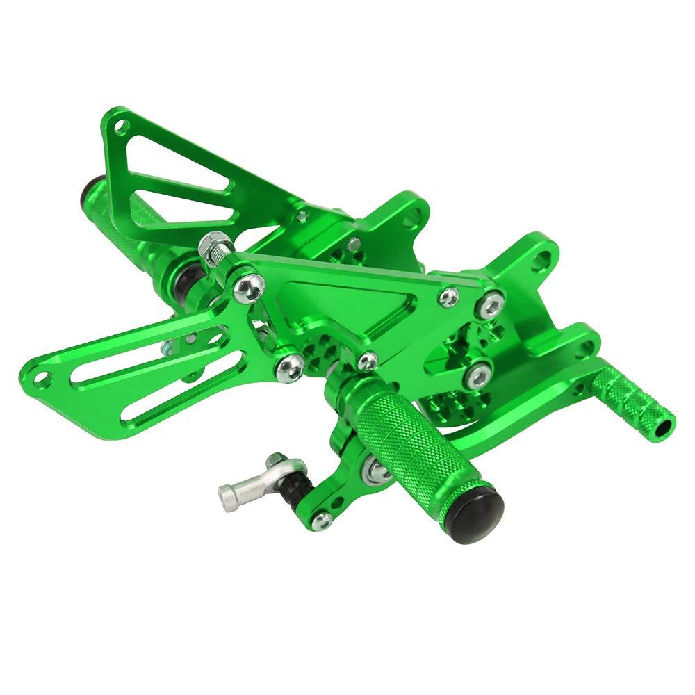 JFG RACING Motorcycle Rearsets CNC Adjustable Rear Foot Pegs Footrest For Kawasaki ZX10R ZX-10R 2006 2007 2008 2009 2010 Green