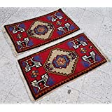 TWO SIMILAR HANDKNOTTED PERSIAN AREA RUGS SMALL OLD WOOL TURKISH CARPETS PAIRED