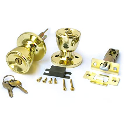Duratron Stainless Keyed Entry Rotation Tulip Type Door Knobs Handle  Entrance Passage Lock Gold Color