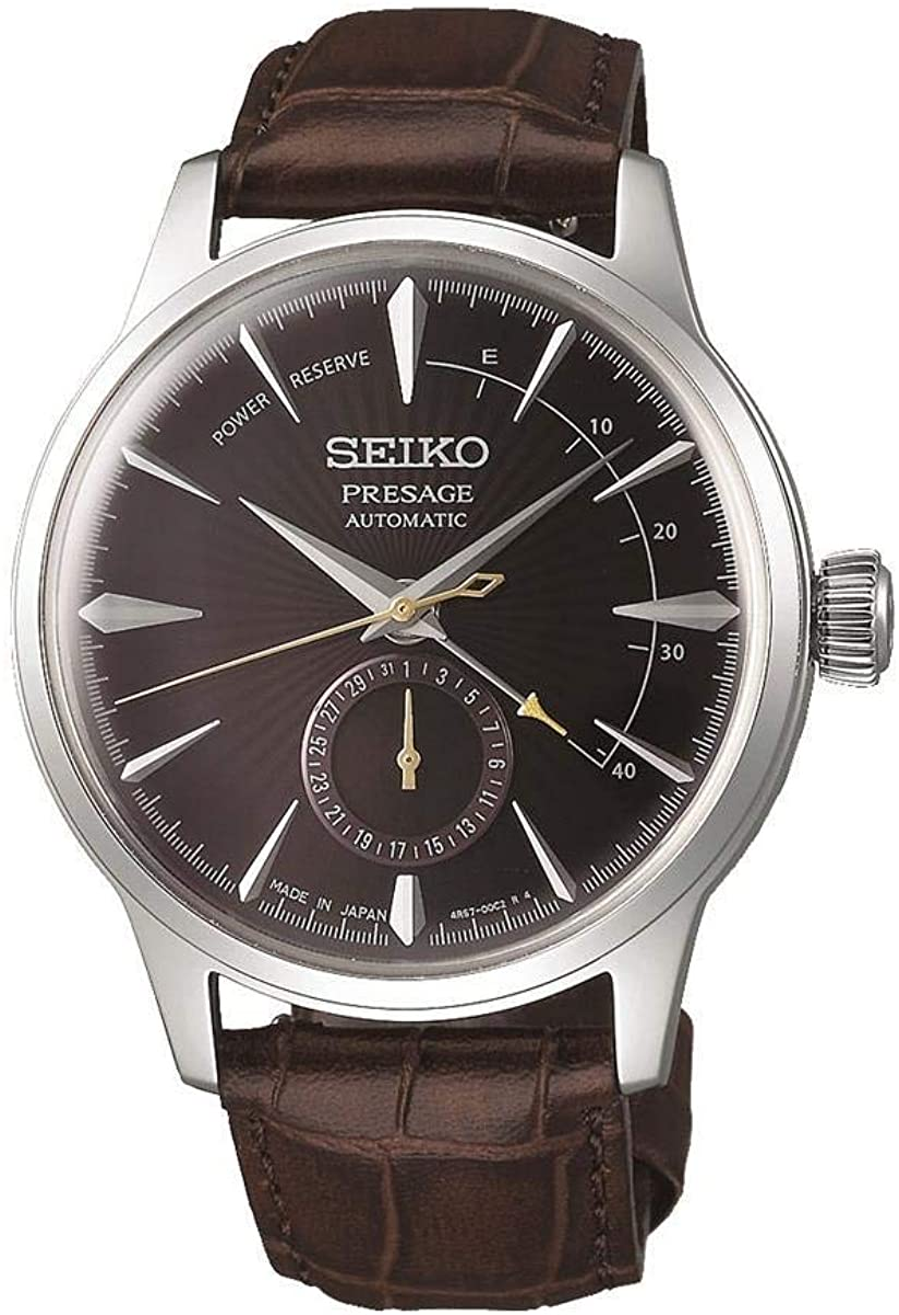 Amazon Com Seiko Presage Power Reserve Black Cat Martini Brown Dial Leather Watch Ssa393j1 Watches